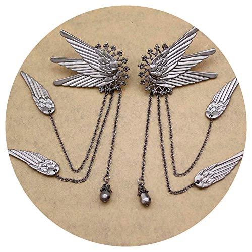 1 Pair Fairy Tail Elf Pixie Angel Wing Long Chain Tassel Ear Cuffs Ear Clip On Pinzas Earrings Jewelry,Black]()