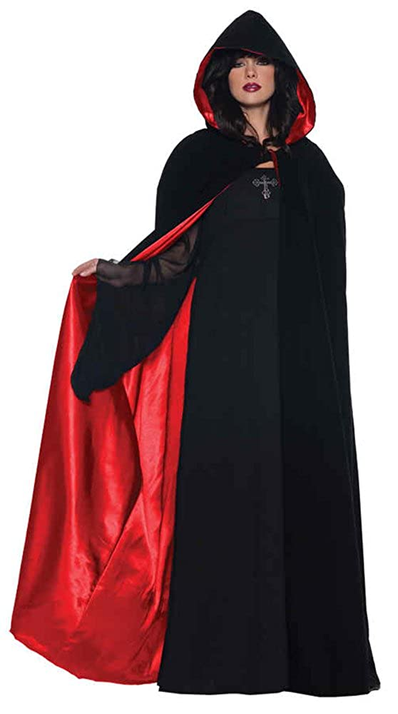 Amazon.com: UHC Women's Deluxe 63In Black/Red Cape Vampire Theme Adult  Halloween Costume, OS: Clothing