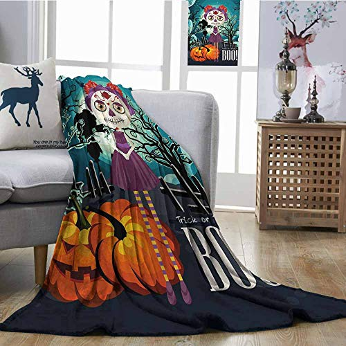 SONGDAYONE Decorative Blanket Halloween Travel Blanket Cartoon Girl with Sugar Skull Makeup Retro Seasonal Artwork Swirled Trees Boo Multicolor W51 xL60 -