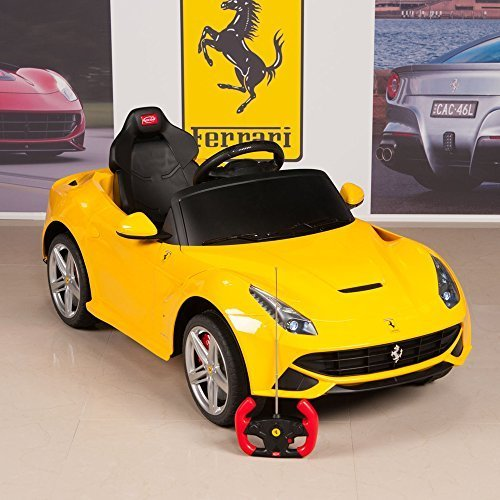12v ferrari f12 battery operated remote controlled kids ride on car with mat and keychain yellow little kid cars
