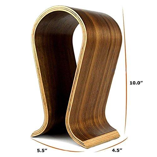 eoocvt Wooden Omega Headphones Rack Headset Hanger Holder, Suitable for All Headphone Size (Walnut Brown)