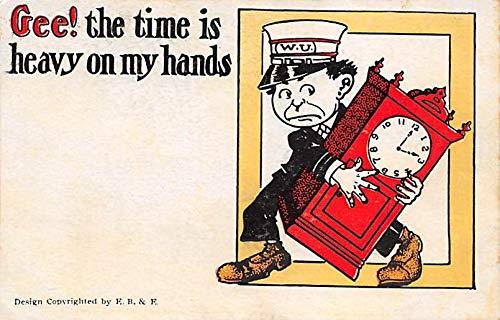 Clocks Post Card Clock Comic Postcard Unused