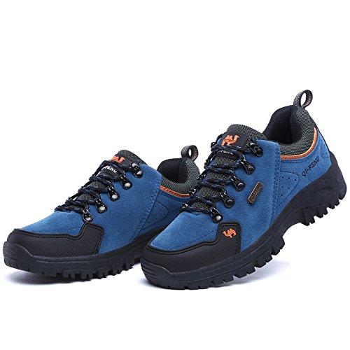 Laufende Turnschuhe der Männer reisen zufällige bequeme lederne leichte athletische wandernde Wildlederschuhe im Freien Blau