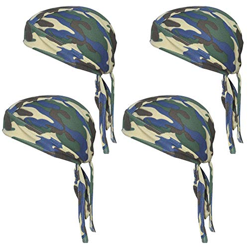 QING Sweat Wicking Beanie Cap Hat Chemo Cap Skull Cap for Men and Women (Camouflage Green 4 Pack)