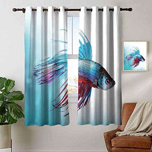 Blackout Curtains Aquarium,Siamese Fighting Betta Fish Swimming in Aquarium Aggressive Sea Animal,Sky Blue Dark Coral,for Bedroom,Nursery,Living Room 42