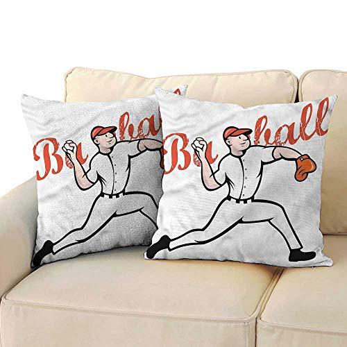 (WinfreyDecor Boys Room Personalized Pillowcase Baseball Player Pitching Machine Washable W15 x L15)