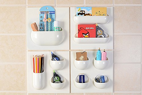 EdiMoM Brand; Set of 4 Small Simple No trace Strong Paste Reusable Wall Organizer, White (All Pockets Included )