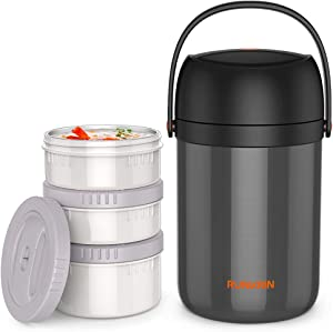 Runkrin 64oz Insulated Thermos for Hot Food 8 Hours, 3 Tiers Leak-Proof Stackable Thermal Lunch Box Containers, Stainless Steel Vacuum Food Jar Soup Storage for Kids Men Women, School Picnic