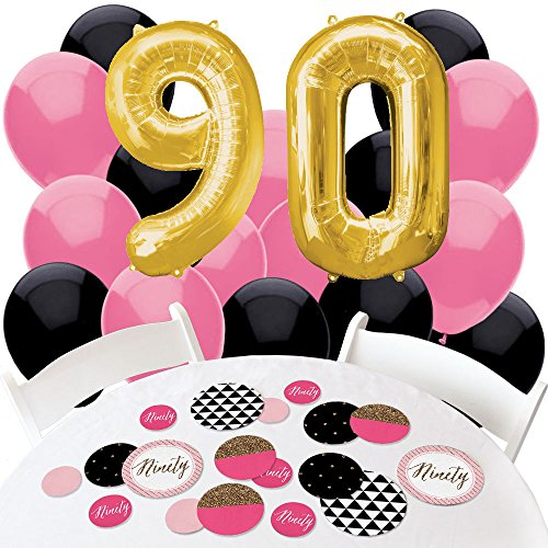 Chic 90th Birthday - Pink, Black and Gold - Confetti and Balloon Party Decorations - Combo Kit
