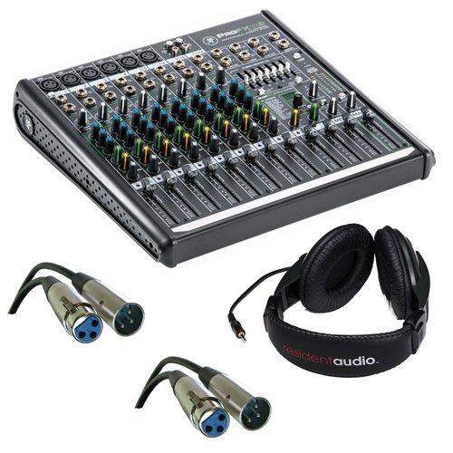 Mackie ProFX12v2 12-Channel Sound Reinforcement Mixer with Stereo Headphones & Two XLR- XLR Cable by Kellards