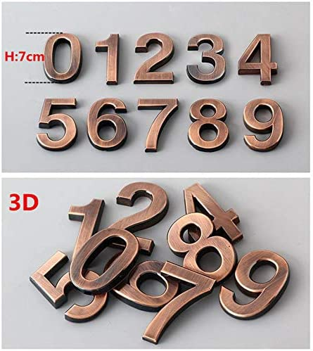 3D Zahlen-Aufkleber Gold 1x Nummer 1-900071 Edle Türschilder Hausnummern