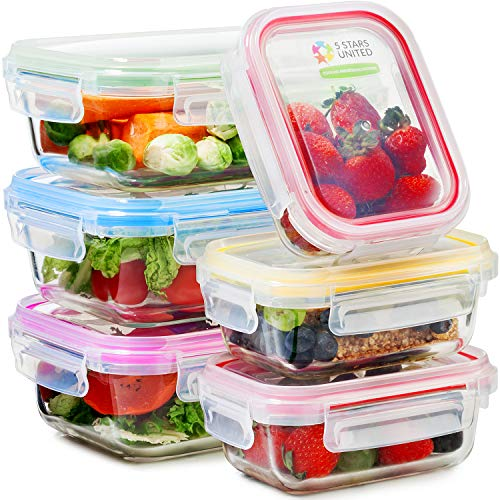 Glass Food Storage Containers with Lids - 6 Pack, 2 Sizes (35 Oz, 12 Oz) - Meal Prep Lunch Boxes - Microwave, Fridge, Freezer, Dishwasher, Oven Safe - BPA-free - ()