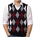 FULIER Winter Mens Gilet V-Neck Sleeveless Vest Waistcoat Classic Business Gentleman Argyle Pattern Knitwear Knitted Sweater Tank Tops (Medium, Color-1)