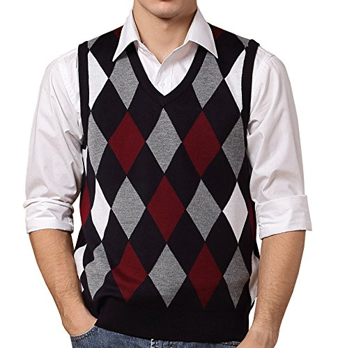 FULIER Winter Mens Gilet V-neck Sleeveless Vest Waistcoat Classic Business Gentleman Argyle Pattern Design Soft Knitwear Warm Sweater Tank Tops (S, Color-1) (Pattern Argyle Top)