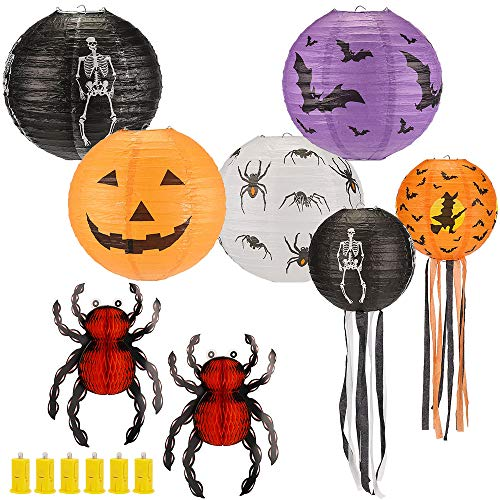 14Pcs 12 Inch 8 Inch Halloween Decorations Paper Lanterns Set, Hanging Lantern Lamps with LED Light, Spider Bat Skeleton Pumpkin Lantern for Halloween Spooky Home Decor Party Supplies Props