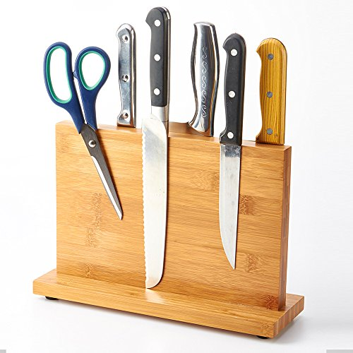 Wooden Knife Block Holder (Knife kitchen block ,Knife Dock Wooden Magnetic,Natural Bamboo Knife Block,Cutlery Display Stand and Storage Rack,Kitchen Scissor Holder,Bothside Can Be Used By ADM-LC.)