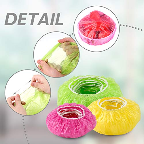 HANSGO Elastic Reusable Food Storage Covers, 120 Pieces 3 Size Plastic Wrap Colorful Bowl Covers Dish Plate Plastic Covers for Family Outdoor Picnic