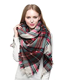 Blanket Scarf for Women Large Square Plaid Checked Tartan Pashmina Shawl Wraps