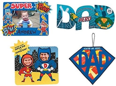 Amazon.com: Fathers Day DIY Craft Kit; 1 Super Dad Sign Craft Kit, 1 ...