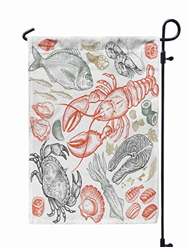Shorping Welcome Garden Flag, 12x18Inch Fish Shrimp Crab Lobster Octopus Sushi Color Isolated White Background Vintage Art Food Design Menu for Holiday and Seasonal Double-Sided Printing Yards Flags]()