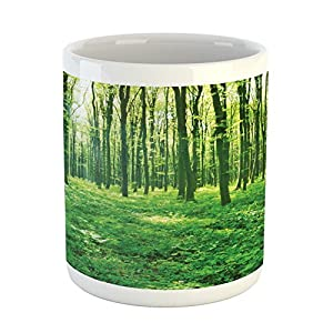Forest Mug by Lunarable, Summer Forest With Early Morning Sun Through Trees Scenics Picture, Printed Ceramic Coffee Mug Water Tea Drinks Cup, Forest Green and Yellow
