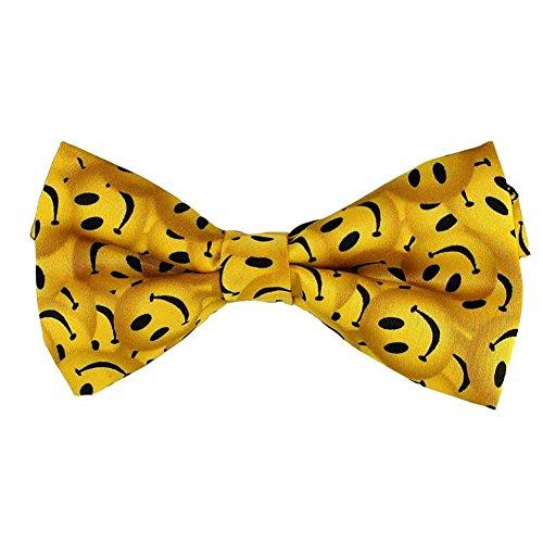 Men's Yellow Smiley Face design novelty Pre-tied Bowtie -