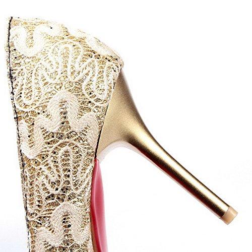 Assortiti Di Donne on Tacchi Chiuse Colori scarpe Nere Pull Delle Smerigliato Alti Pompe Sottolineato Weipoot xHAqwwfY0