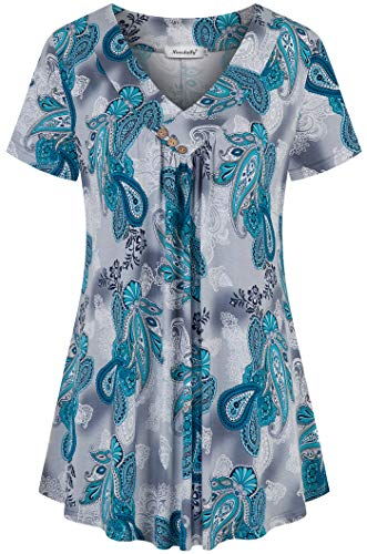 Ninedaily Women's Tunic Summer Short Sleeve Top Loose V Neck Dressy Shirt Blouse Floral Printed Petite Size L (Sleeve Short Blouse Petite)