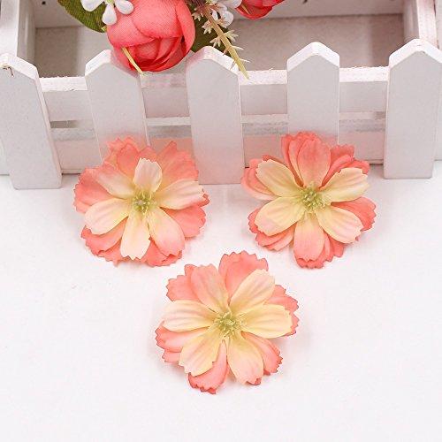 Artificial Flower 50pcs Mini Silk Plum Blossom Wedding Decoration DIY Wreath Clip Clip Accessories Handmade Craft Flower Head (Orange) (Color Blossoms Are What Plum)