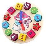 OWIKAR Wooden Blocks Toys Digital Geometry Clock Baby Kids...