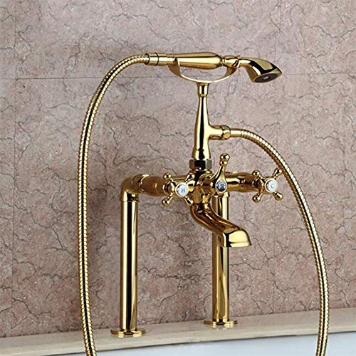 Gold Plated Bathtub Faucet Set, Bathroom Tub Spout, European Style Luruxy Roman Tub Filler Faucet with Handheld Shower Head 2 Holes Long Hose