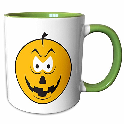 (3dRose Dooni Designs Smiley Face Designs - Lollipop Sucker Yellow Smiley Face - 15oz Two-Tone Green Mug (mug_103739_12))