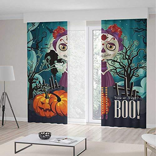 iPrint Blackout Curtains,Halloween,Decor Curtains,Cartoon Girl with Sugar Skull Makeup Retro Seasonal Artwork Swirled Trees Boo Decorative,2 Panel Set,157