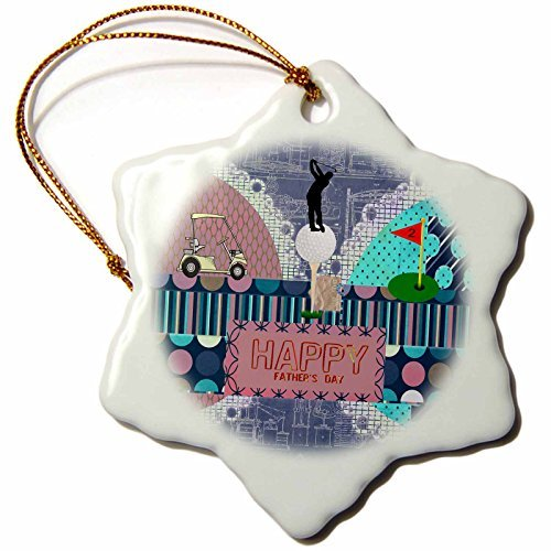 Beverly Turner Fathers Day Design - Golf Theme Fathers Day, Abstract, Golf Ball on Tee, Man Golfer on Top - 3 inch Snowflake Porcelain Ornament (239536_1)