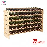 4 Family 72 Bottles Holder Wine Rack Stackable Storage 6 Tier Solid Wood Display Shelves