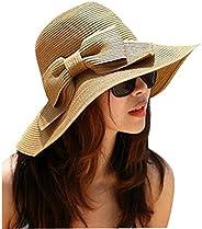 Happy Will Floppy Wide Brimmed Summer Straw Sun Hat Beach Hat Sun Visor Sun Shade Bow Design with Stylus