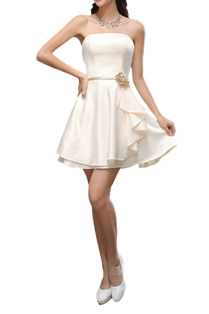 La Mariee Elegant Short/Mini Satin Bridesmaid Dresses With Ruffles Flower New-16-White