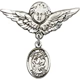 Sterling Silver Baby Badge with Holy Family Charm and Angel w/Wings Badge Pin 1 1/8 X 1 1/8 inches
