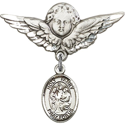 Sterling Silver Baby Badge with Holy Family Charm and Angel w/Wings Badge Pin 1 1/8 X 1 1/8 inches by Unknown