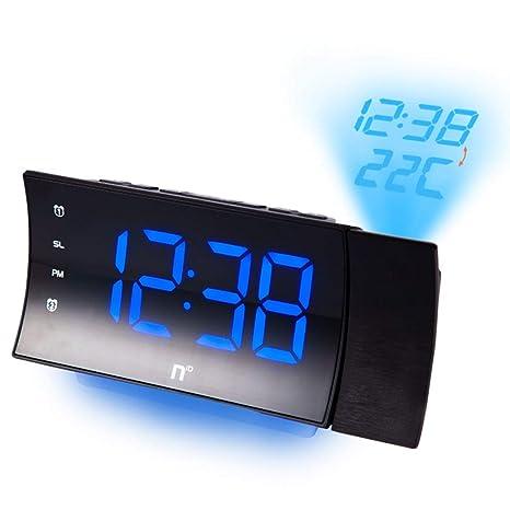 Alarma Proyección del Reloj en la Temperatura del Techo Radio FM Sueño Pesado Dormitorio Posponer Relojes