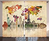Lunarable Travel Curtains, Landmarks of The World Seven Wonders Europe Asia and America Abstract Map Modern, Living Room Bedroom Window Drapes 2 Panel Set, 108 W X 108 L Inches, Sepia Cream