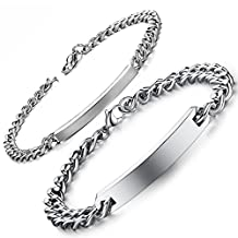 Flongo Free Engraving Men's Womens 2PCS Plain Stainless Steel Couples Wedding Anniversary Gift Curb Chain ID Link Bracelet