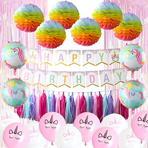 Unicorn Birthday Party Decorations Set for Girls | Rainbow Theme Supplies -