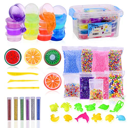Slime Kit, Slime Making Kit for Girls & Boys, 20 Colors of Fluffy Crystal DIY Slime Kit, Slime Kits with Everything, Supplies Include Fruit Slices, Fishbowl Bead, Foam Balls, Glitter. Slime Stuff