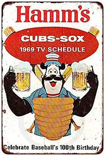 Nice Tin Sign Aluminum Retro 1969 Cubs White Sox Hamm's Beer Vintage Metal Sign 8 X 12 Inch