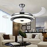 RS Lighting Best Ceiling Fan European Luxury Telescopic Fan Lights LED Ceiling Fan Chandelier for Living Bed Restaurant Room-Chorme