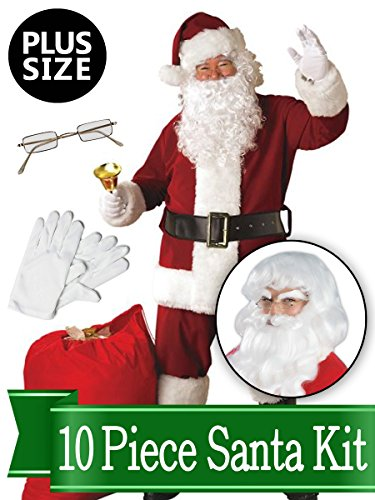 Santa Plus Size Costume - Red Regal Deluxe Complete 10 Piece Kit - Santa Suit Plush -