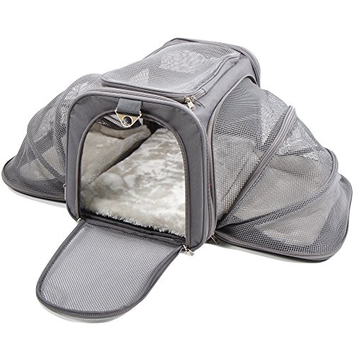 Jet Sitter Expandable Pet Dog Cat Carrier - Soft Sided Carriers Cats Dogs Travel Crate (Large) (Loop Soft Pet)
