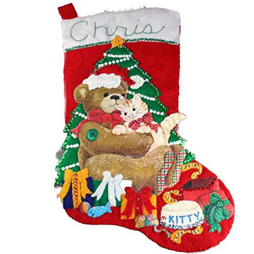 Handmade Sequin Embellished Teddy Bear Kitty Felt Christmas Stocking