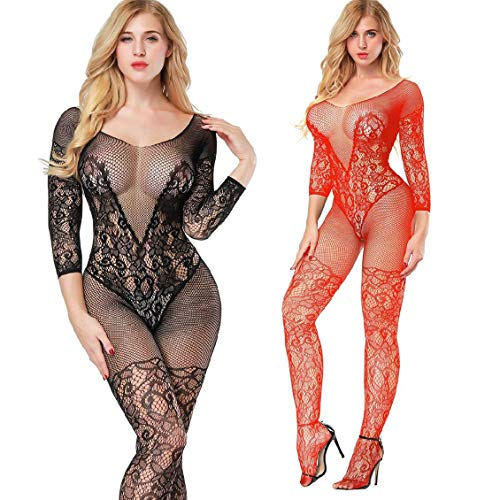 (2 Pack Fishnet Bodystocking Lingerie Babydoll Crotchless Teddy Nightie Long Sleeve Bodysuit Plus Size for Women (Black+Red))
